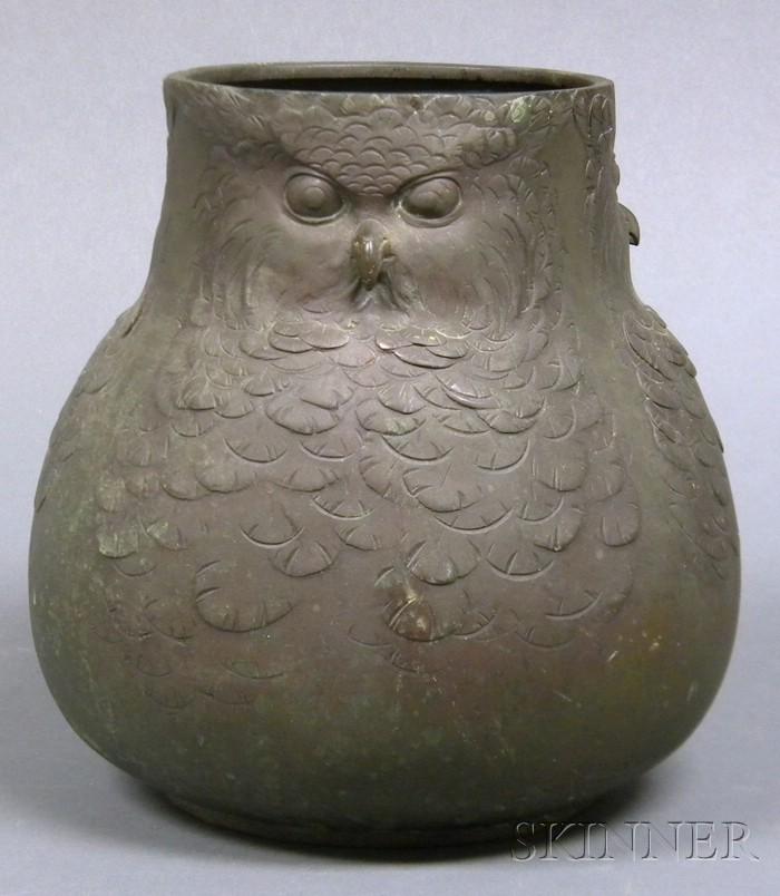 Bronze Owl Vessel