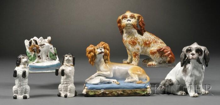 Six Porcelain Dog Figurines