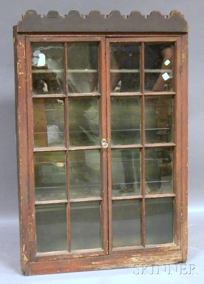 Country Glazed Red-stained Pine Two-door Cabinet