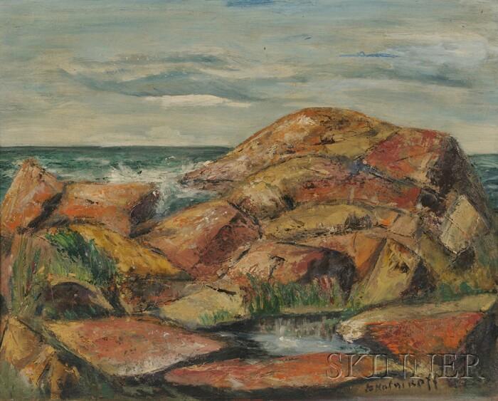 Betty E. Skolnikoff (American, 1902-1998)      Lot of Two Coastal Landscapes: Bass Rocks