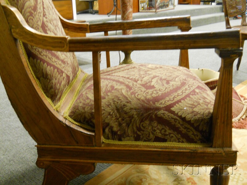 Italian Neoclassical Inlaid Fruitwood Open Armchair