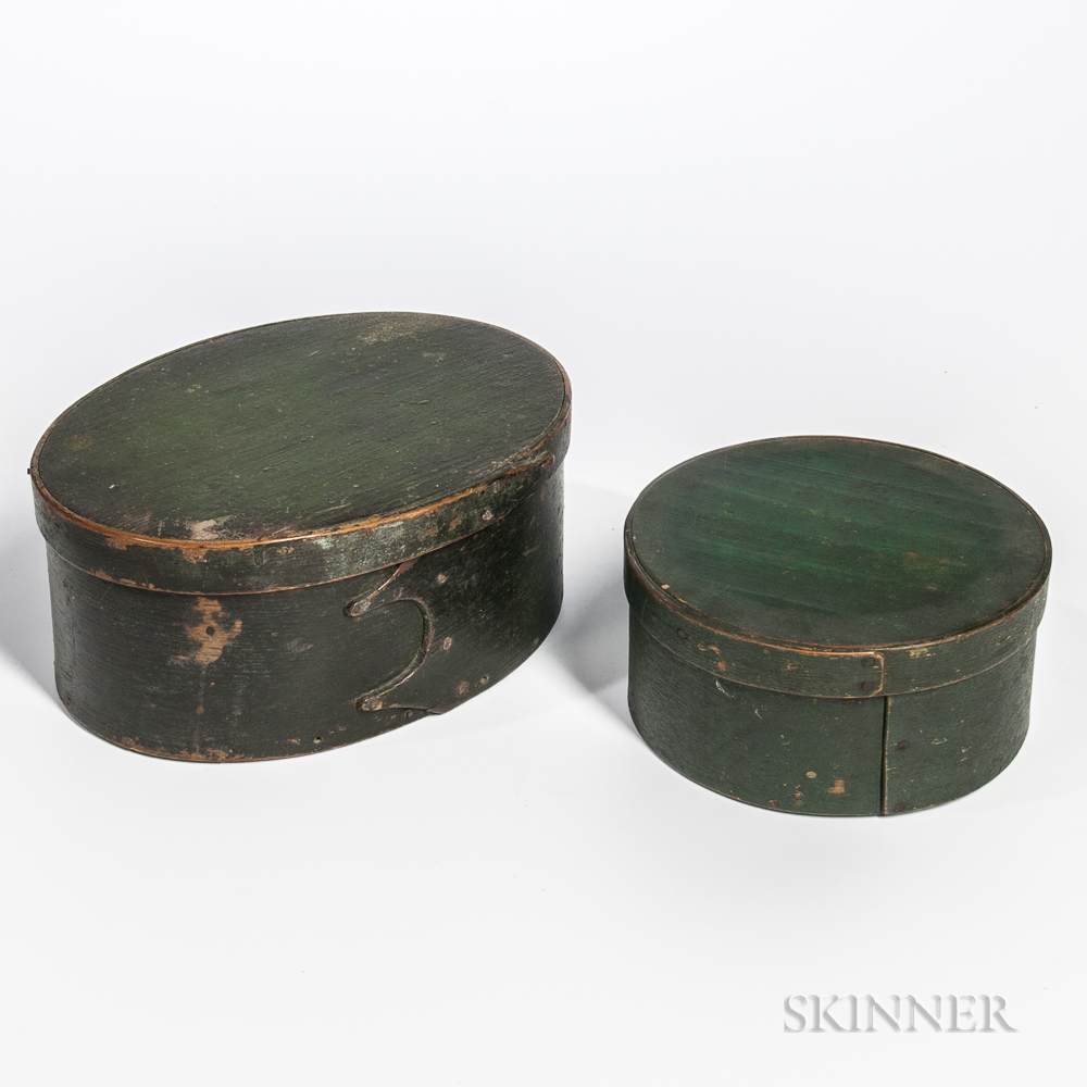 Two Green-painted Pantry Boxes