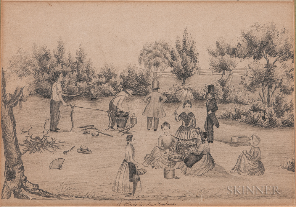American School, 19th Century      A Picnic in New England
