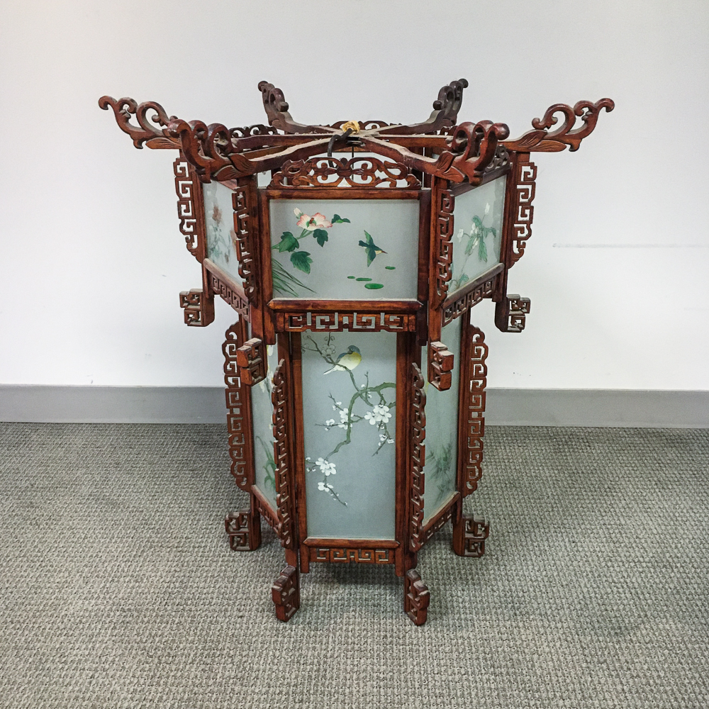 Chinese Carved and Reverse-painted Glass Chandelier