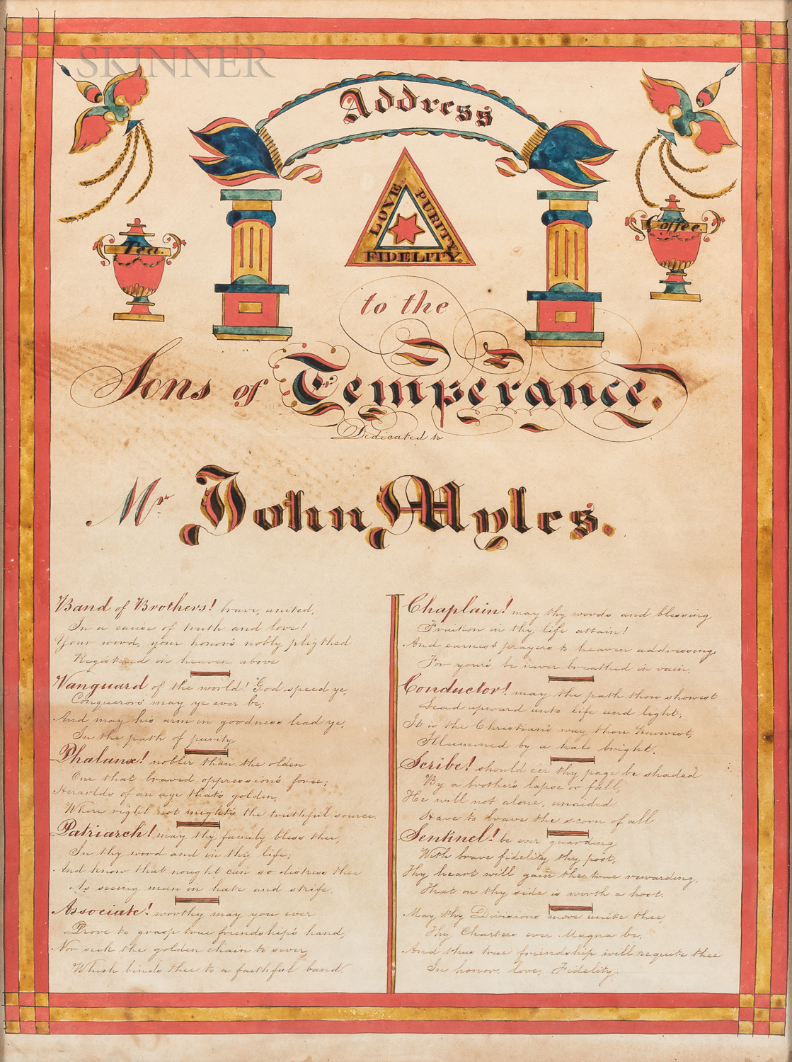 """Watercolor on Paper """"Address to the Sons of Temperance,"""""""