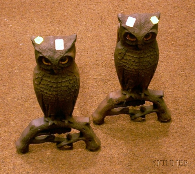 Pair of Cast Iron Owl Figural Andirons with Glass Eyes.