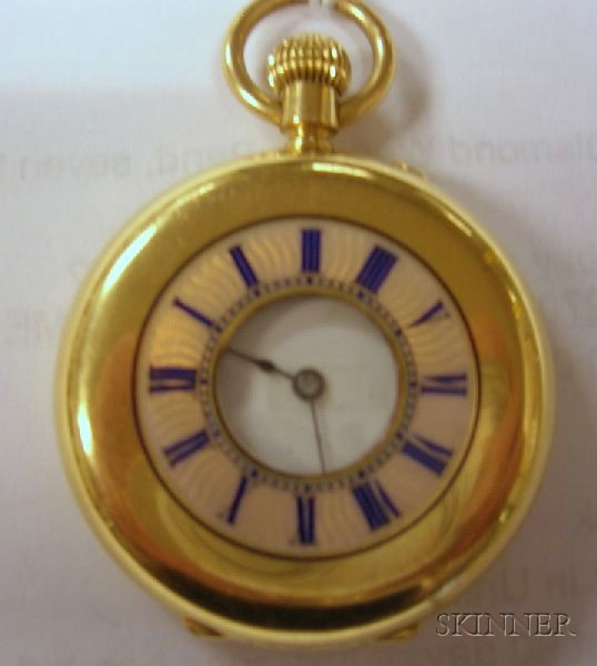 18kt Gold and Enamel Open-face Pocket Watch.