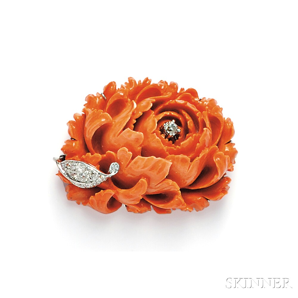 Carved Coral and Diamond Flower Brooch