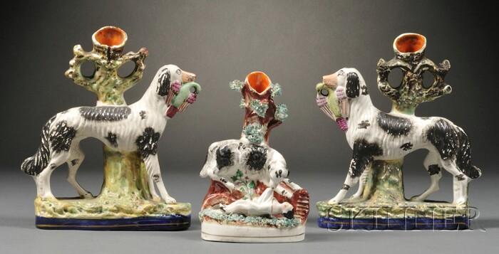 Three Staffordshire Porcelain Spaniel-form Spill Vases