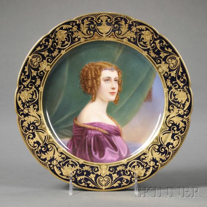 German Porcelain Cabinet Portrait Plate Depicting Jane Digby, Lady Ianthe Ellenborough