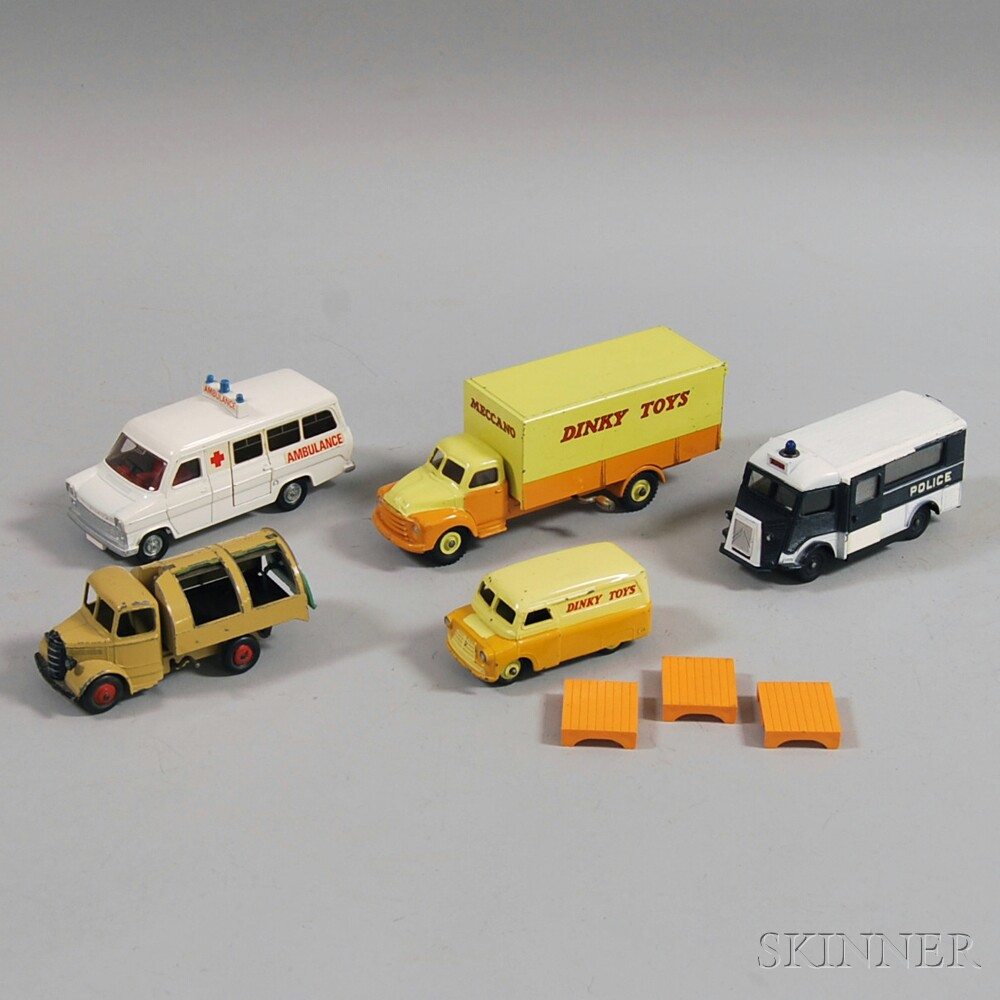 Five Meccano Dinky Toys Die-cast Metal Vehicles