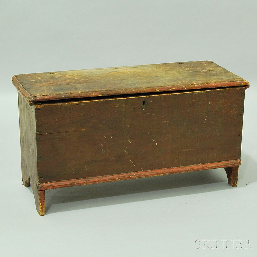 Small Brown-painted Six-board Chest