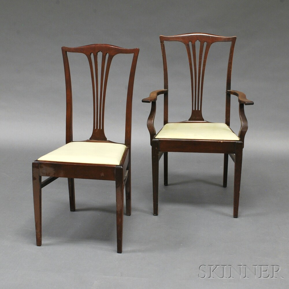 Marlborough Dining Set: Set Of Eight Chippendale-style Carved Mahogany Dining