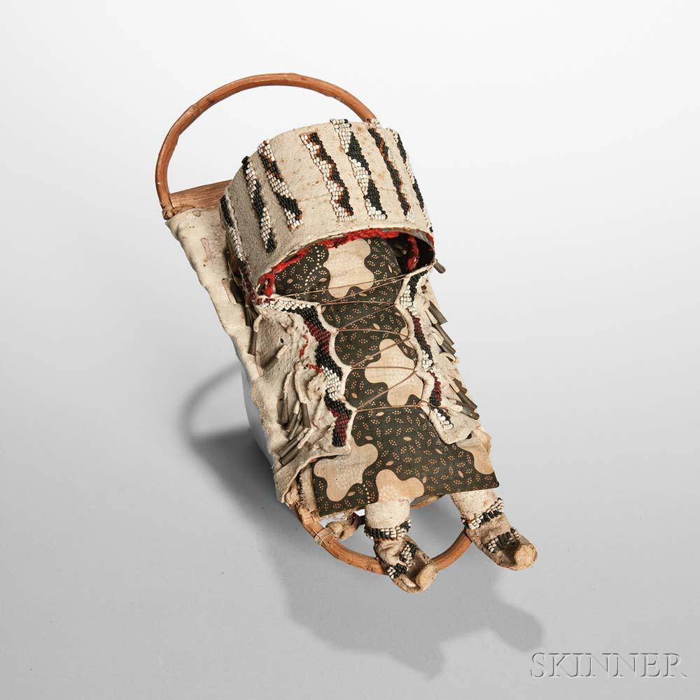 Apache Beaded Hide Model Cradle