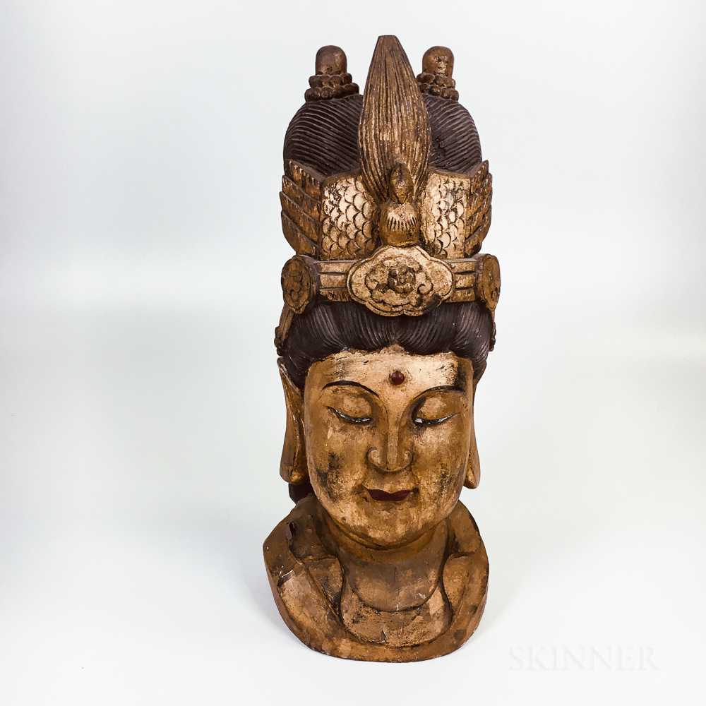 Large Carved and Painted Wood Guanyin Head