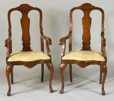 Two Dutch Queen Anne Style Walnut Armchairs