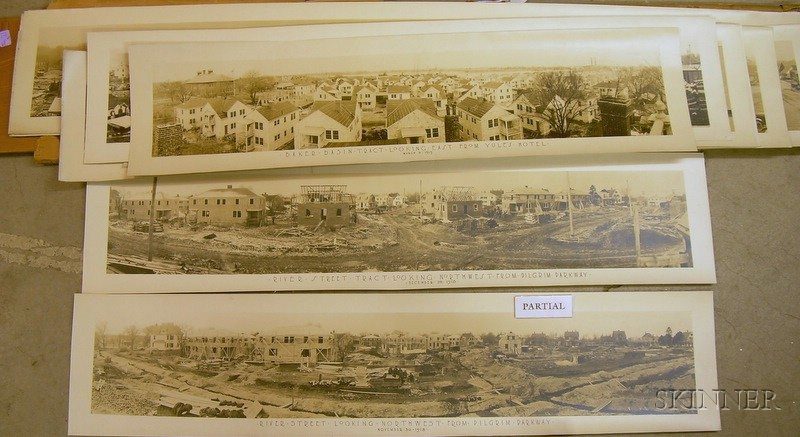 Set of Twenty 1918 Panoramic Photographs of Baker Basin Area, Quincy, Massachusetts, Fore River Shipyard Housin...