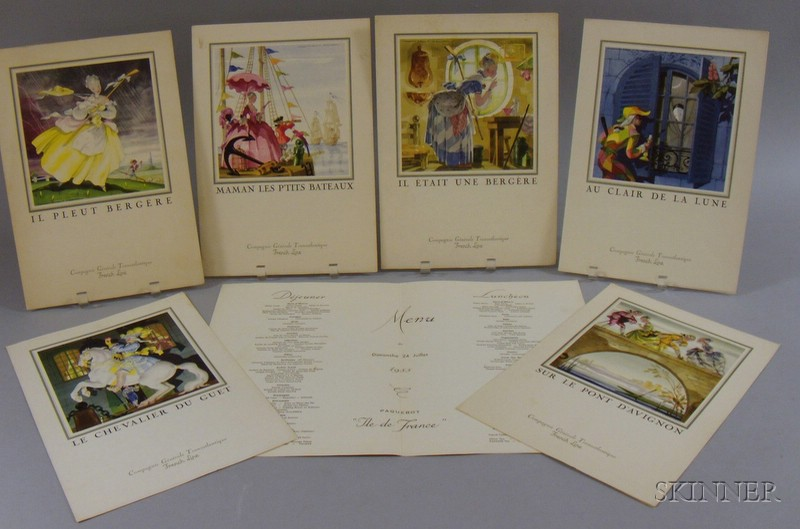 Seven Compagnie Generale Transatlantique French Line, Jean A. Mercier Illustrated   Menus