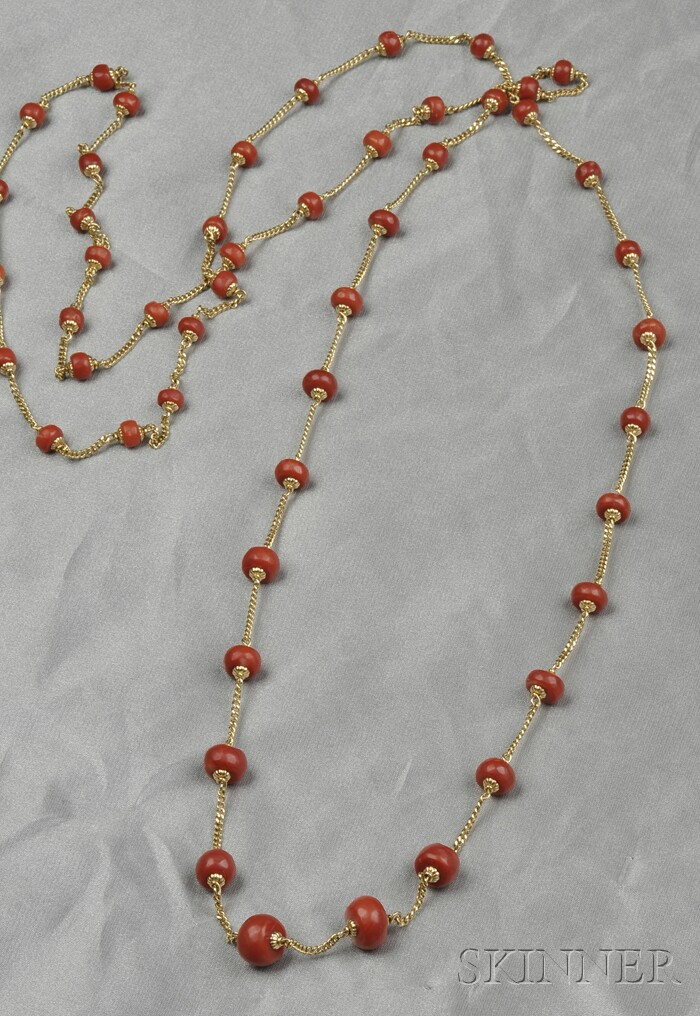 18kt Gold and Coral Longchain