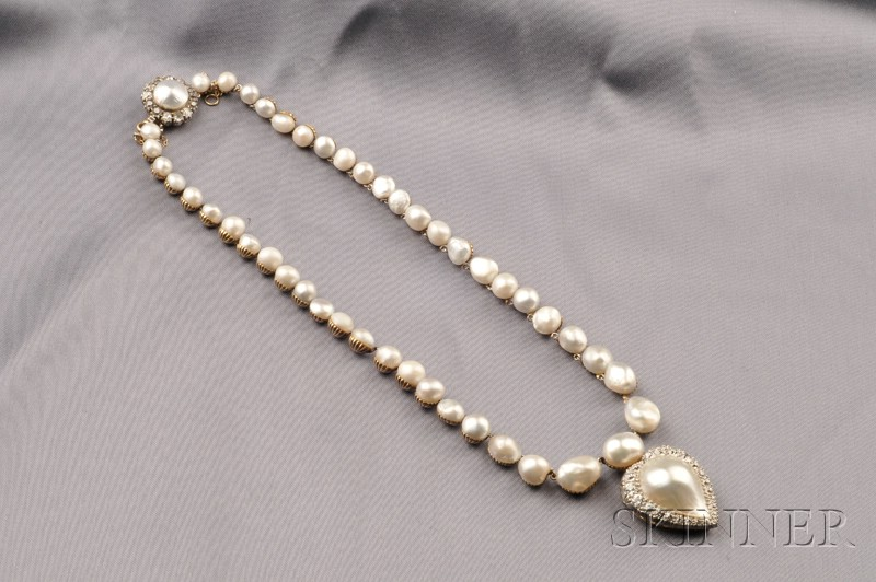 Antique Pearl and Diamond Necklace, and Tiffany & Co. Pearl and Diamond Pendant
