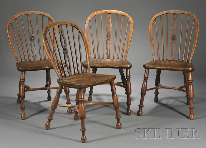 Four Windsor Elm Side Chairs