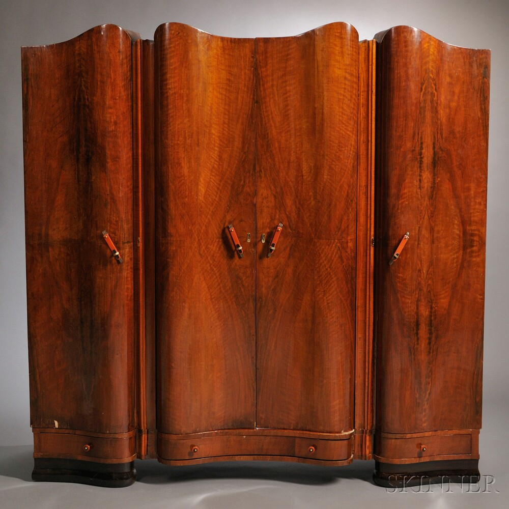 art deco vanity armoire two night cabinets and a shoe cabinet sale number 2661b lot number. Black Bedroom Furniture Sets. Home Design Ideas