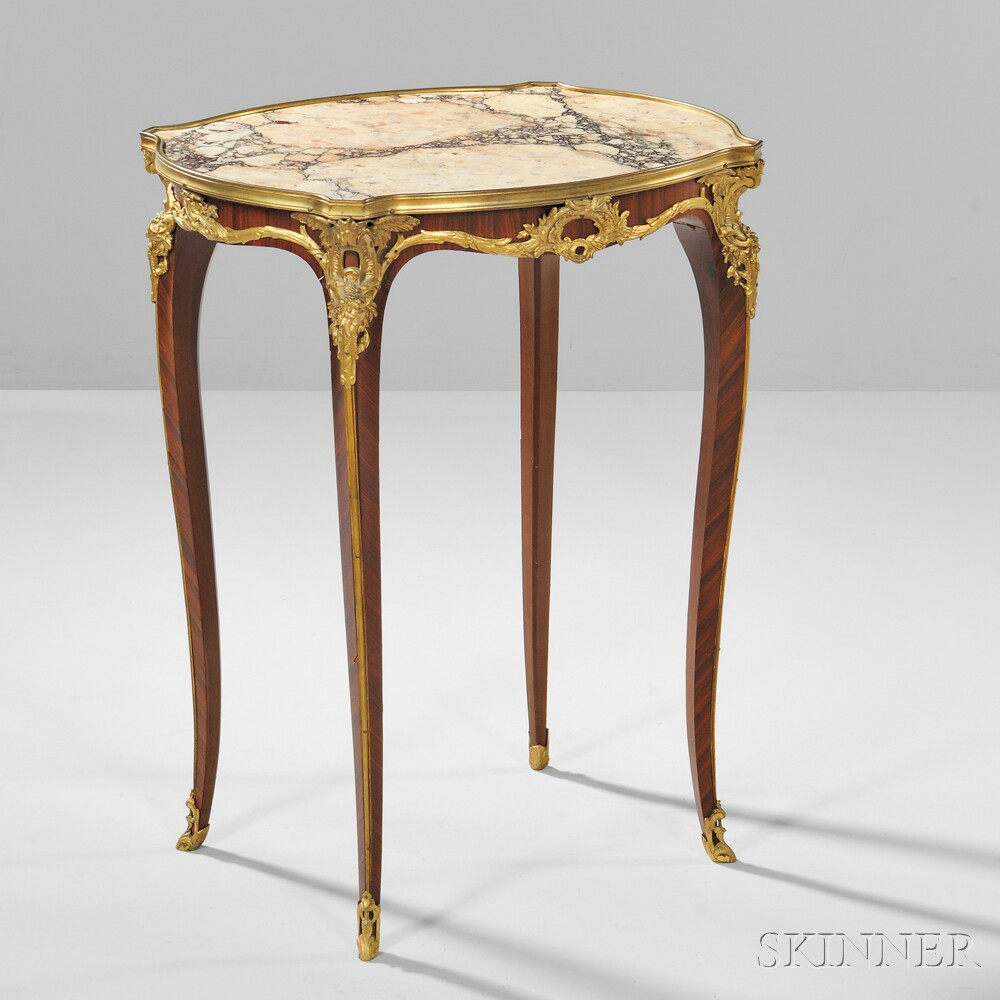 Louis XVI-style Gilt-bronze Marble-top Table Ambulant