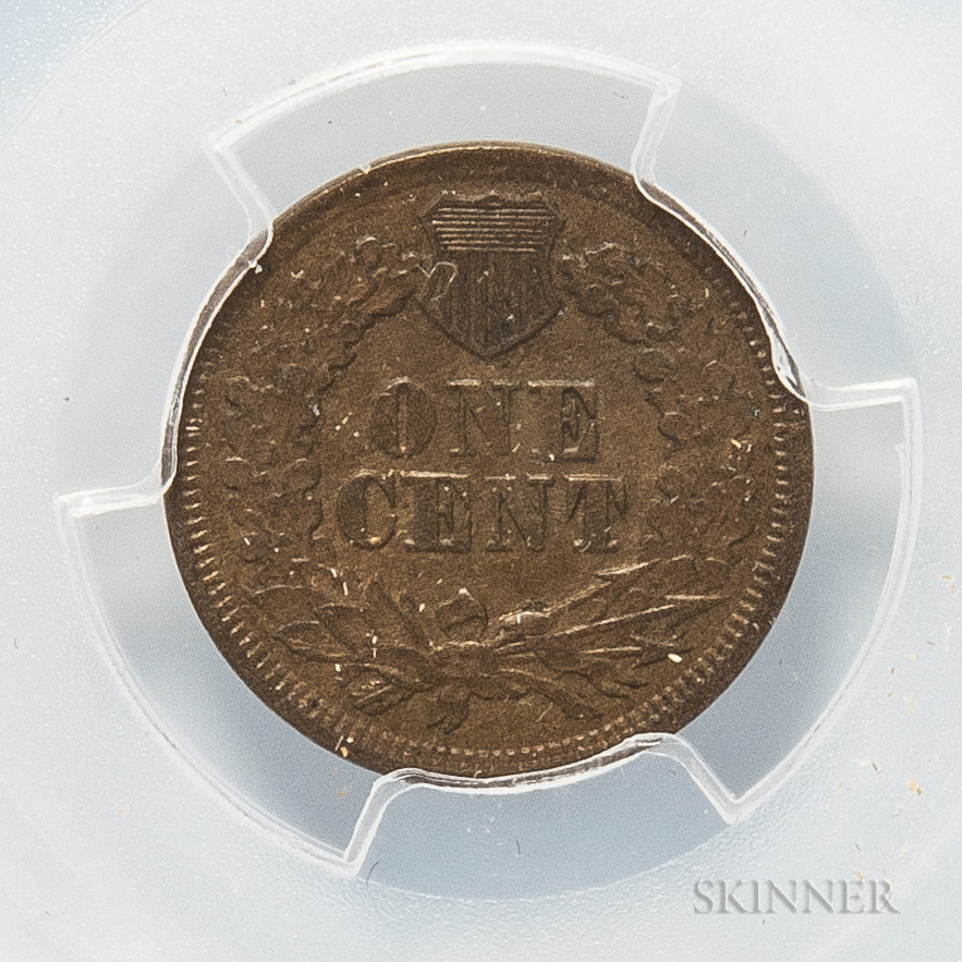 1869 Indian Head Cent, PCGS AU55.     Estimate $300-500