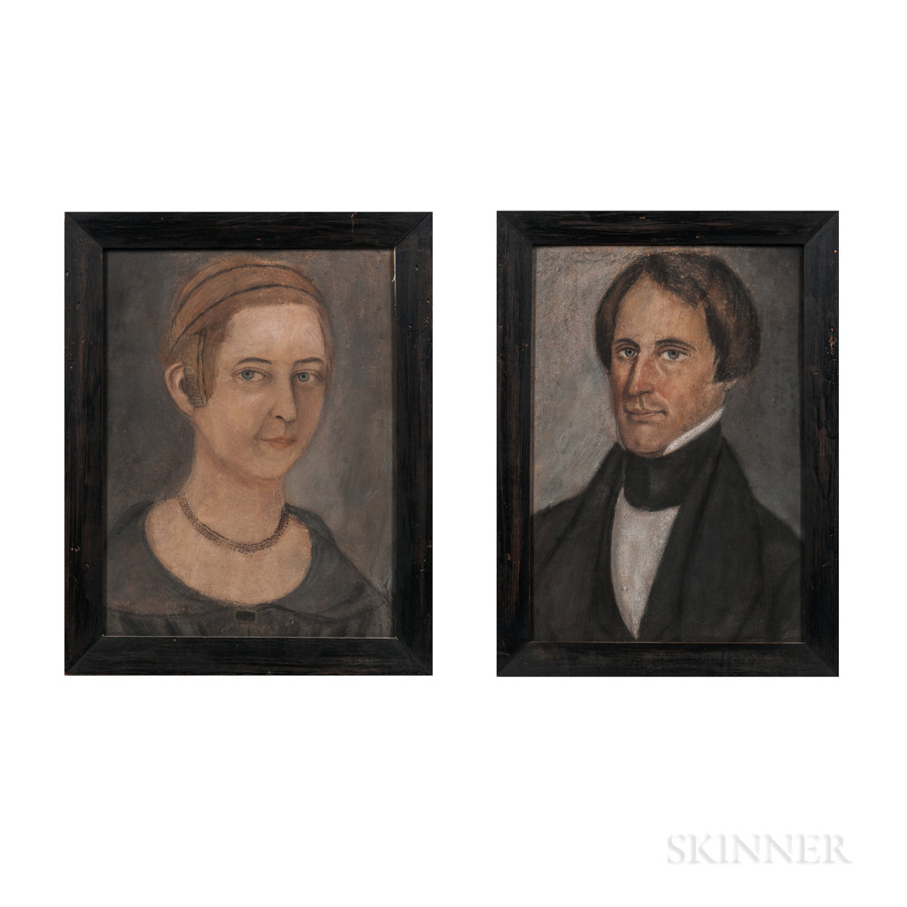 American School, 19th Century      Pair of Portraits of a Man and Woman