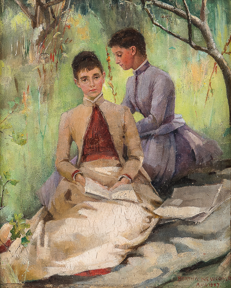 Bertha Newcombe (British, 1857-1947)      En Plein Air Portrait of Two Women
