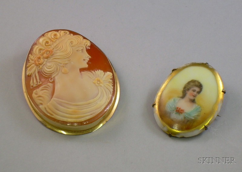 Small Painted Brooch and a Large 14kt Gold Framed Shell Carved Cameo Brooch