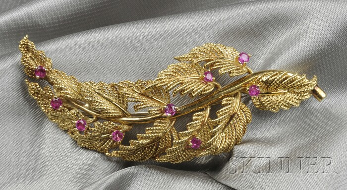 18kt Gold and Ruby Brooch, Tiffany & Co.