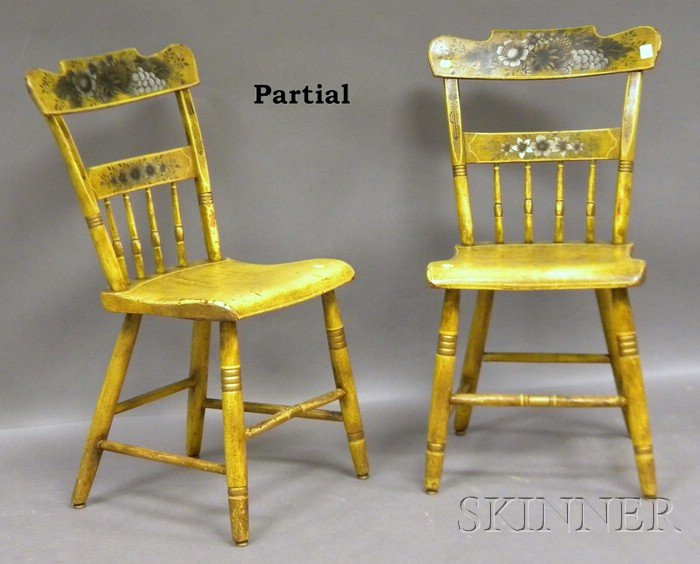 Set of Six Yellow-painted and Stencil-decorated Wood Fancy Side Chairs.