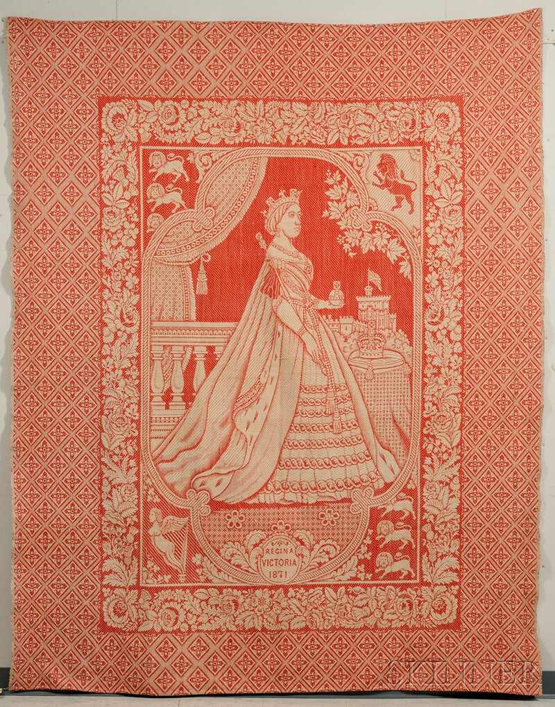 British Jacquard Coverlet Depicting Queen Victoria