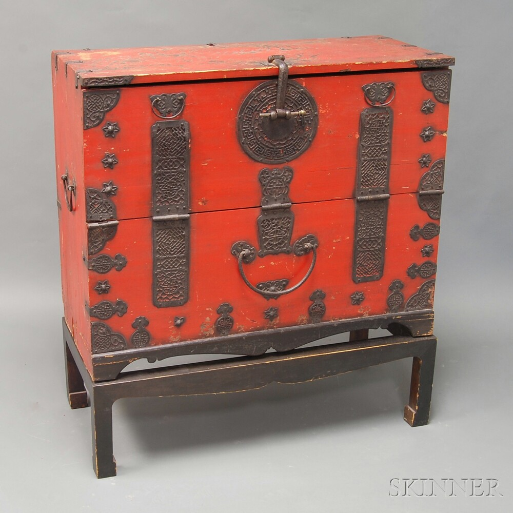 Chinese Red-painted Iron-bound Chest on Stand