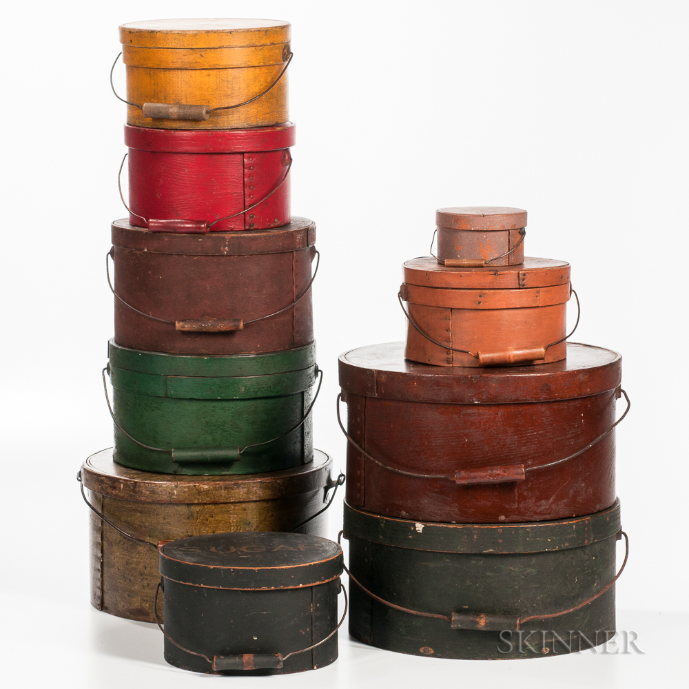 Stack of Ten Wire-handled Lidded Pantry Boxes