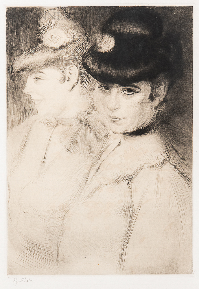 Edgar Chahine (French, 1874-1947)    Brune et Blonde, 2ème Planche