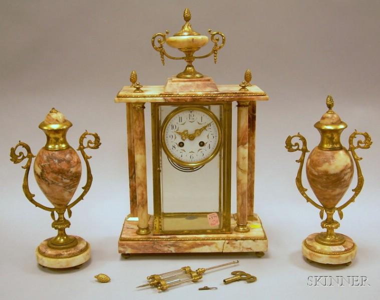 Three-piece French Marble Clock Garniture