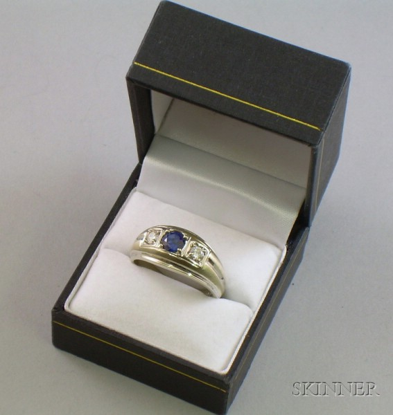 14kt White Gold, Sapphire, and Diamond Man's Ring