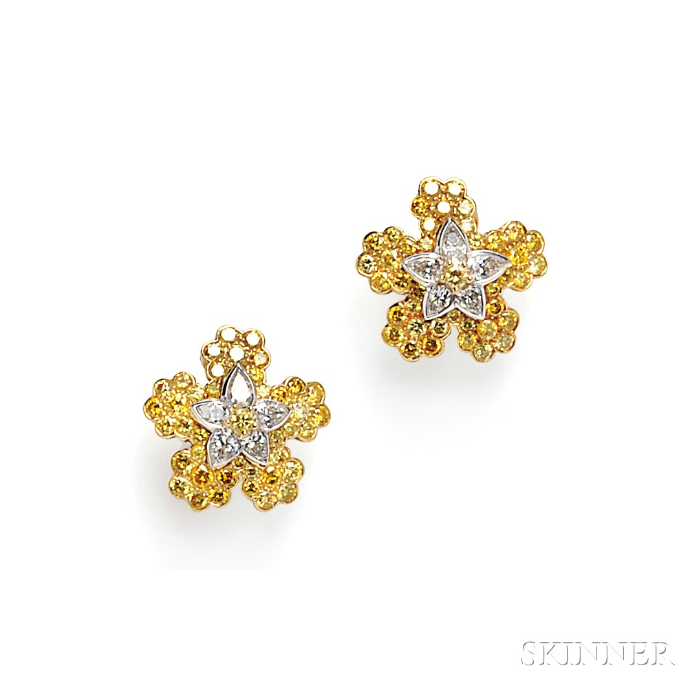 18kt Gold, Colored Diamond, and Diamond Earclips, Cartier
