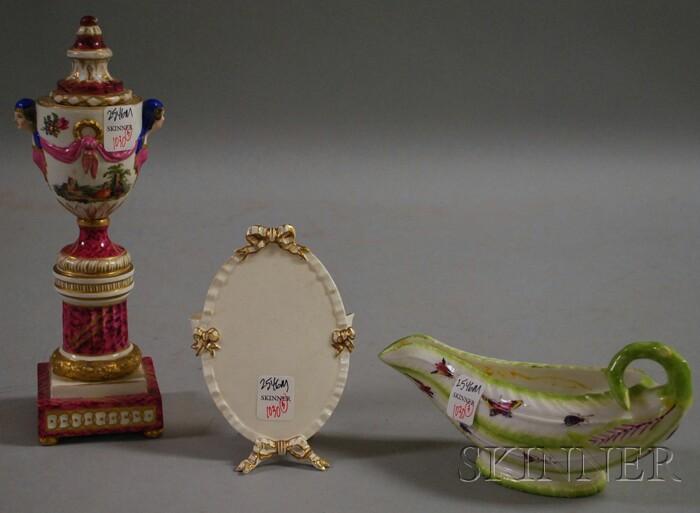Chelsea Porcelain Gravy Boat, a Porcelain Urn, and a Worcester Flower Stand.     Estimate $200-250