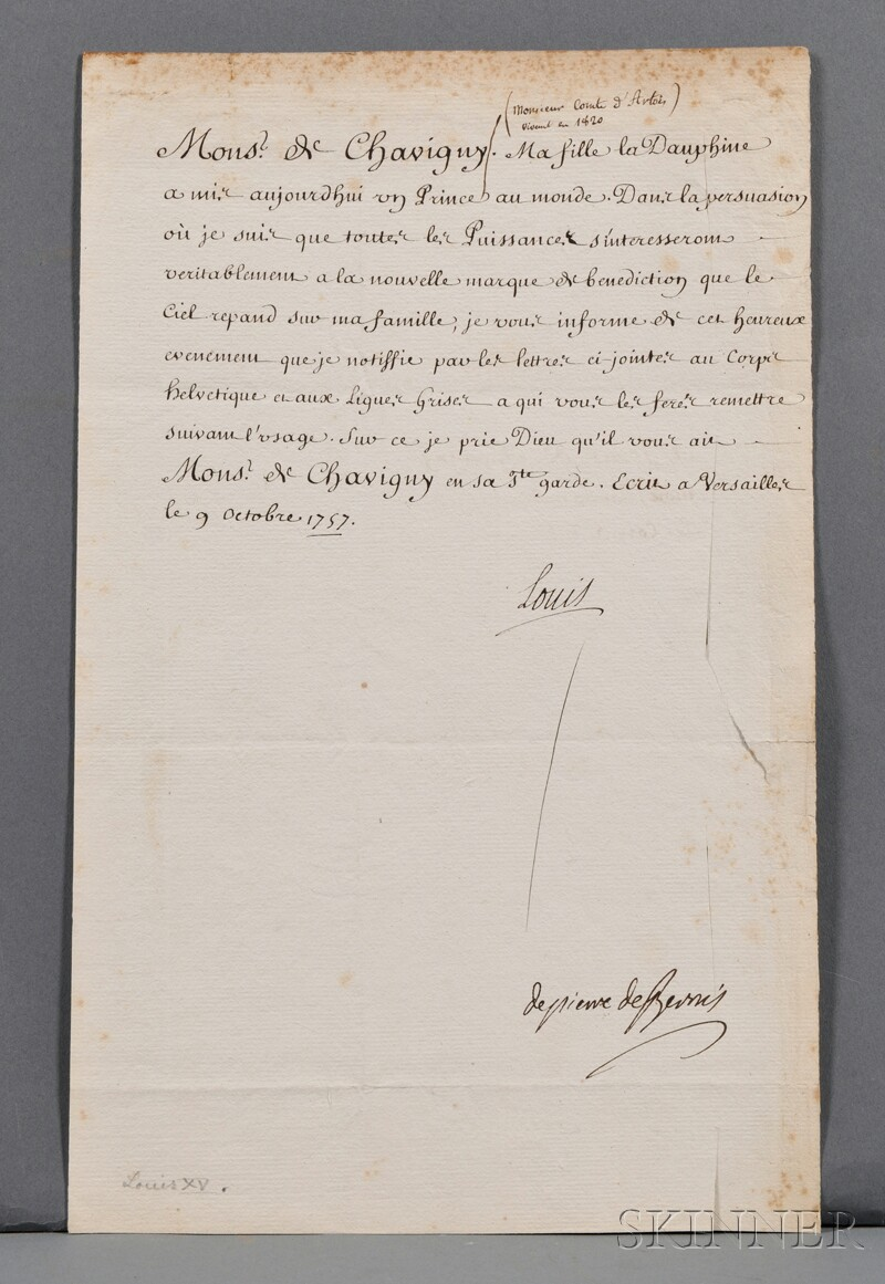 Louis XV, King of France (1710-1774) Document with Secretarial Signature