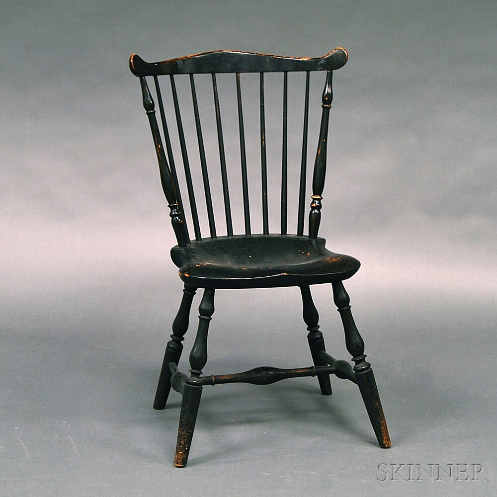 Black-painted Fan-back Windsor Side Chair