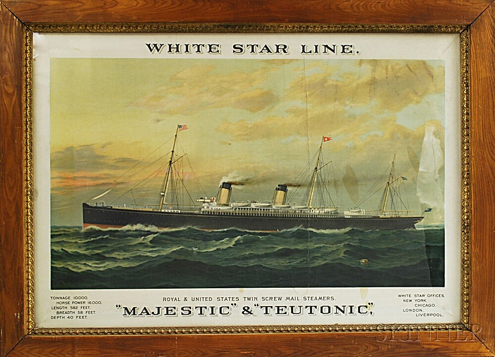 """Framed White Star Line """"Majestic"""" and """"Teutonic"""" Advertising Print"""