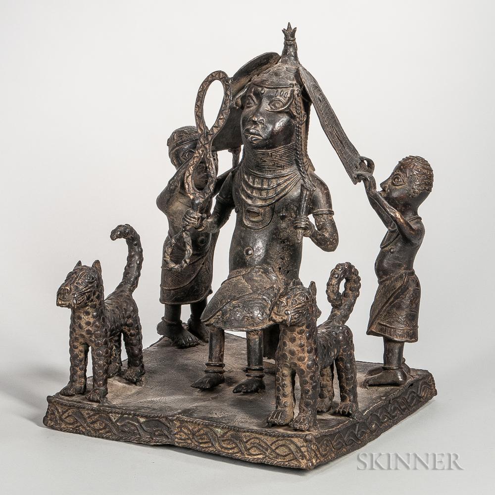 Benin-style Bronze Figural Scene