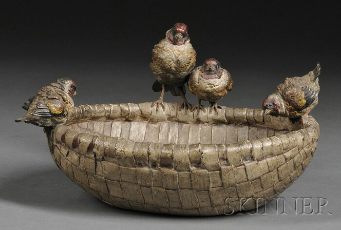 Austrian Cold Painted Bronze Basket with Birds