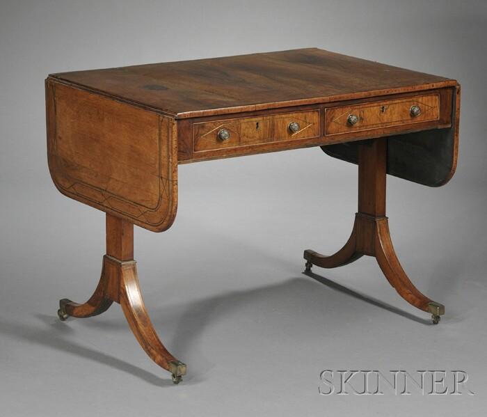 Brass-inlaid Sofa Table