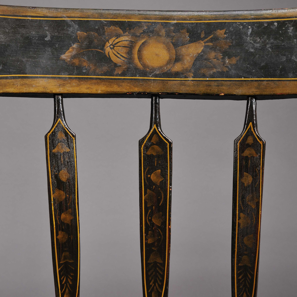 Set of Six Windsor Grained, Stenciled, and Paint-decorated Arrow-back Side Chairs.     Estimate $200-400