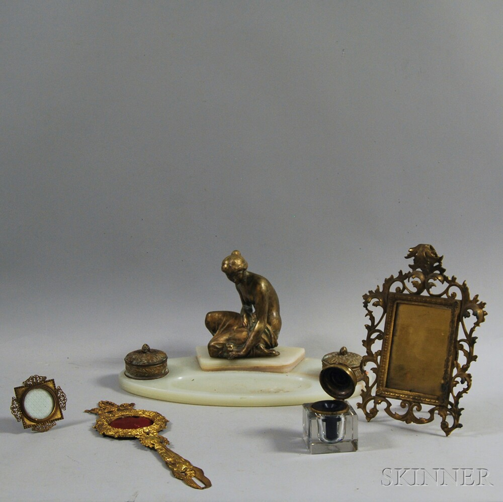 Group of Marble and Metal Decorative Items