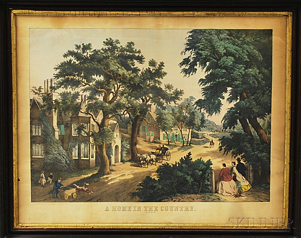 Framed Hand-colored Lithograph A Home In The Country